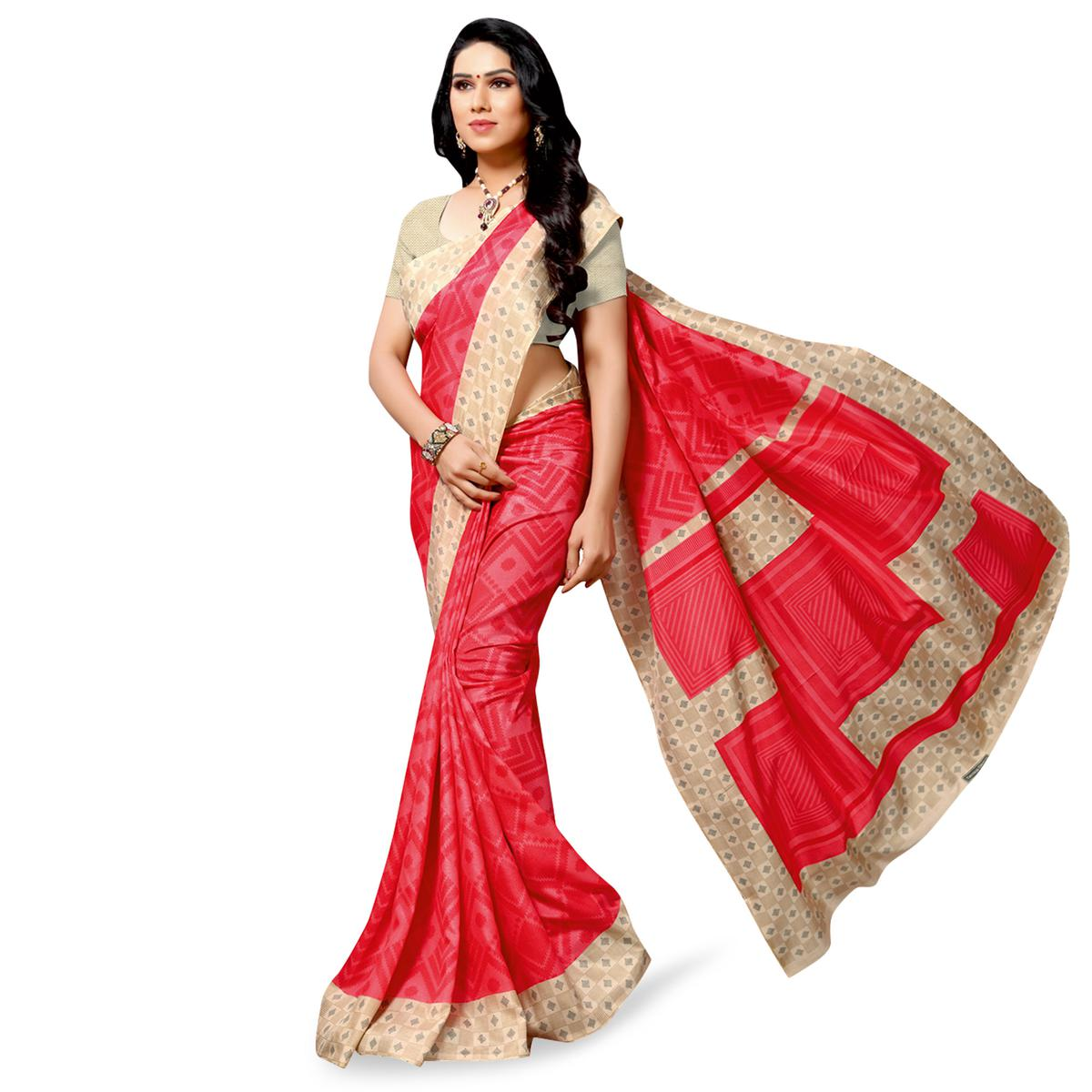 Adorable Red Colored Casual Printed Cotton Silk Saree