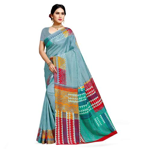 Delightful Blue Colored Casual Printed Cotton Silk Saree