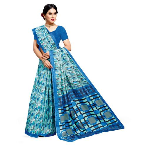Opulent Sky Blue Colored Casual Printed Cotton Silk Saree