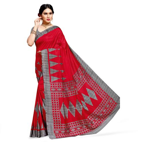 Gleaming Red Colored Casual Printed Cotton Silk Saree