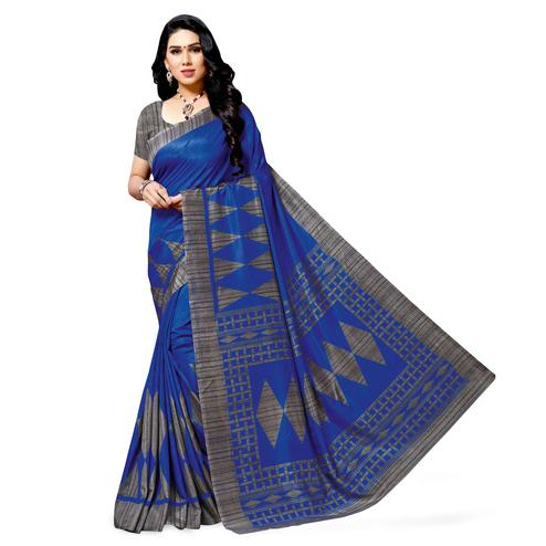 Mesmeric Royal Blue Colored Casual Printed Cotton Silk Saree