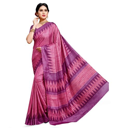 Amazing Pink Colored Casual Printed Cotton Silk Saree