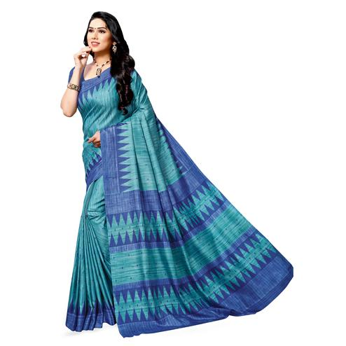 Gorgeous Turquoise Green Colored Casual Printed Cotton Silk Saree
