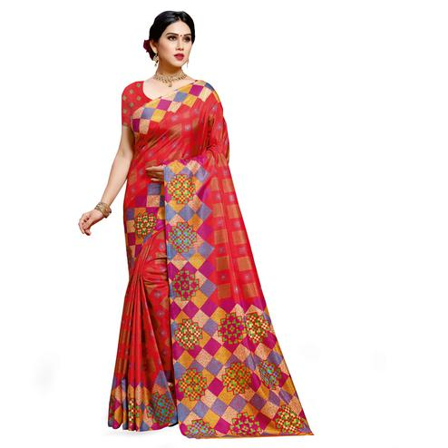 Intricate Coral Red Colored Casual Wear Printed Cotton Silk Saree