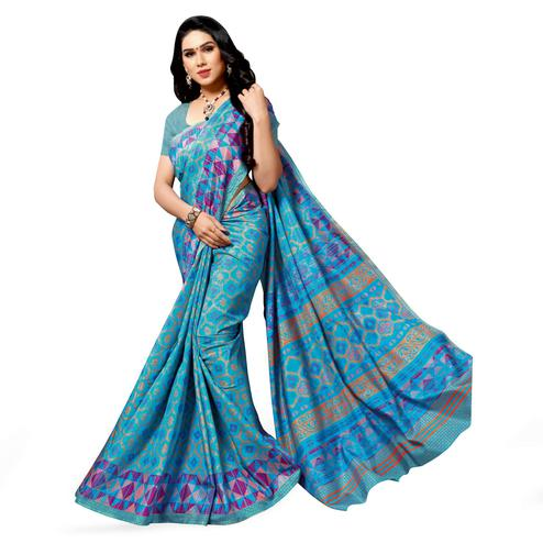 Desirable Light Blue Colored Casual Wear Printed Cotton Silk Saree