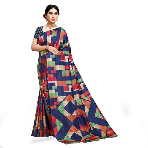 Sophisticated Navy Blue-Multi Colored Casual Wear Printed Cotton Silk Saree