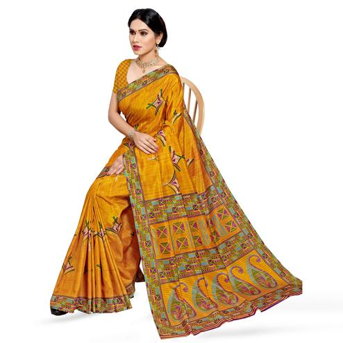 Radiant Mustard Yellow Colored Casual Wear Printed Cotton Silk Saree