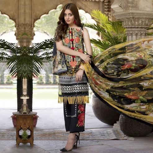 Attractive Dark Grey Colored Party Wear Embroidered Cotton kashmiri Pant Style Suit