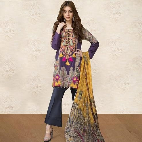 Beautiful Purple Colored Party Wear Embroidered Cotton kashmiri Pant Style Suit