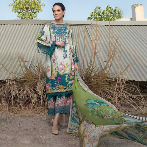 Graceful White-Blue Colored Party Wear Embroidered Cotton kashmiri Palazzo Suit