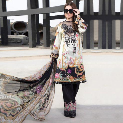 Charming White-Black Colored Party Wear Embroidered Cotton kashmiri Palazzo Suit