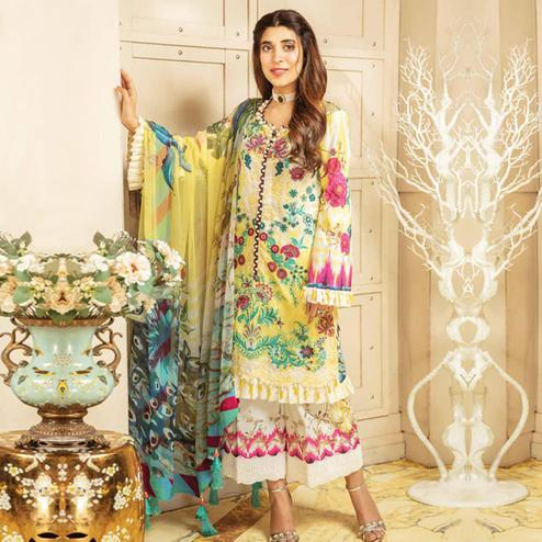 Delightful Yellow Colored Party Wear Embroidered Cotton kashmiri Palazzo Suit