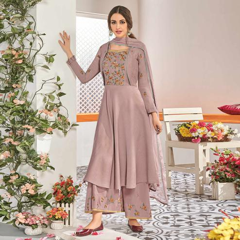 Radiant Mauve Colored Partywear Floral Embroidered Stitched Muslin Cotton Palazzo Suit