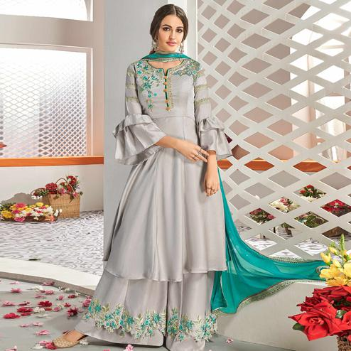 Pleasant Grey Colored Partywear Floral Embroidered Stitched Muslin Cotton Palazzo Suit