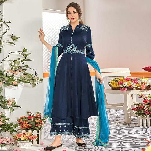 Energetic Navy Blue Colored Partywear Floral Embroidered Stitched Muslin Cotton Palazzo Suit