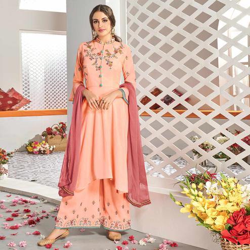 Opulent Peach Colored Partywear Floral Embroidered Stitched Muslin Cotton Palazzo Suit
