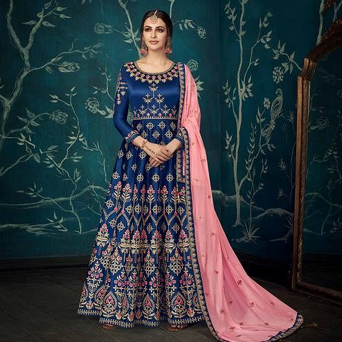 Mesmerising Navy Blue Colored Partywear Floral Embroidered Satin Silk Anarkali Suit