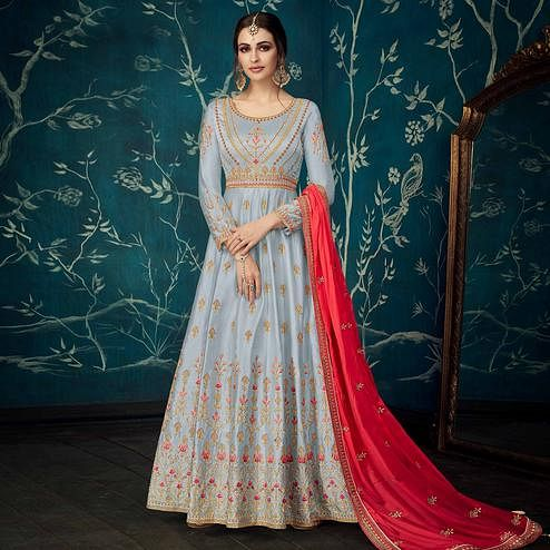 Pleasance Grey Colored Partywear Floral Embroidered Satin Silk Anarkali Suit