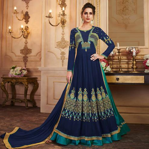 Sensational Navy Blue Colored Partywear Embroidered Georgette Lehenga Kameez