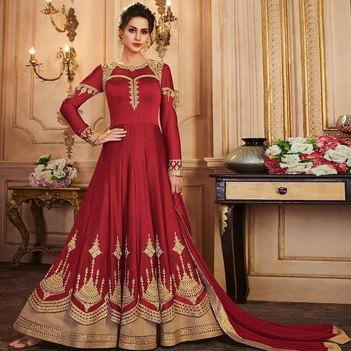 Flaunt Red Colored Partywear Embroidered Silk Anarkali Suit