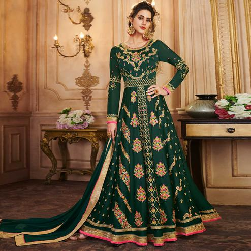 Flamboyant Teal Green Colored Partywear Embroidered Silk Anarkali Suit