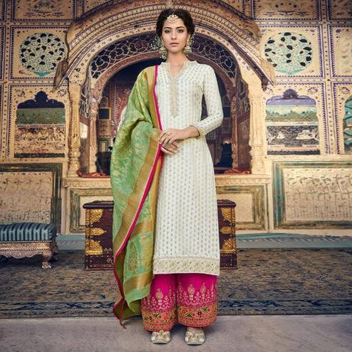 Exclusive White Colored Partywear Embroidered Banarasi Silk Palazzo Suit With Banarasi Silk Dupatta