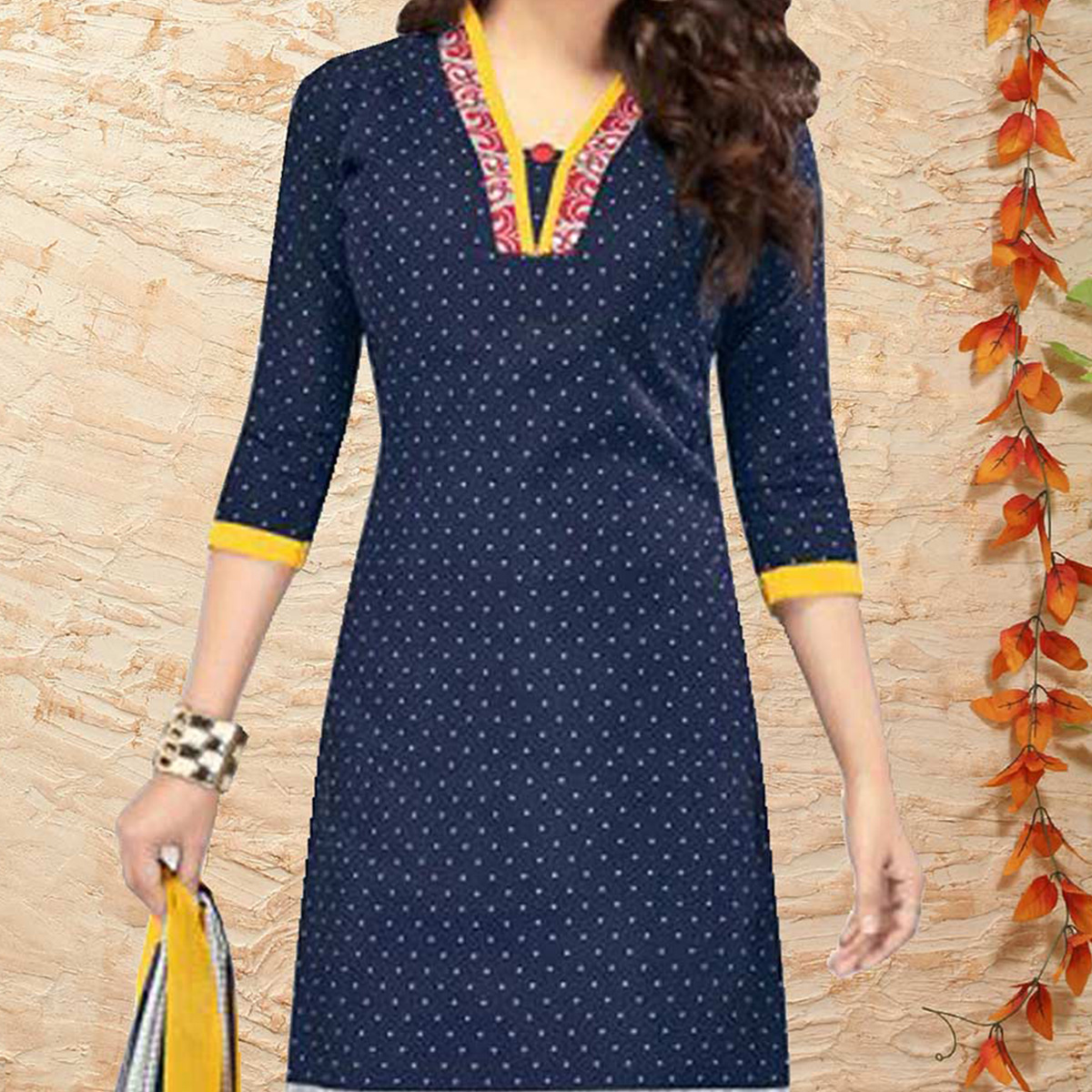 Blue Printed Cotton Dress Material