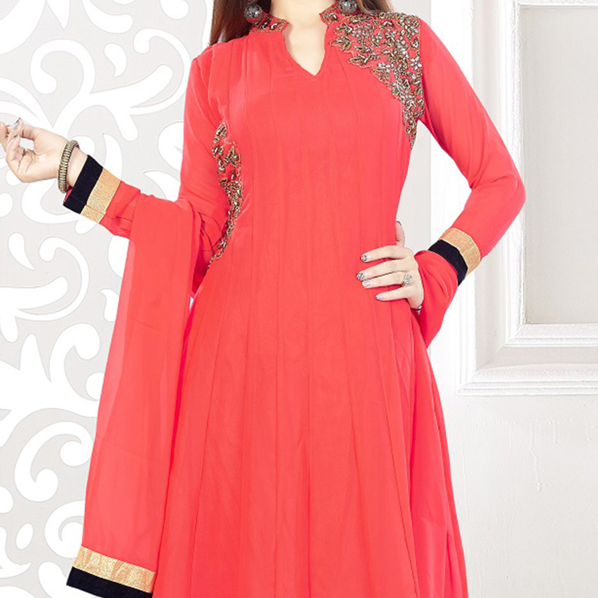 Pink Embroidered Work Anarkali Suit