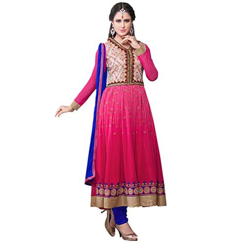 Pink - Royal Blue Embroidered Anarkali Suit