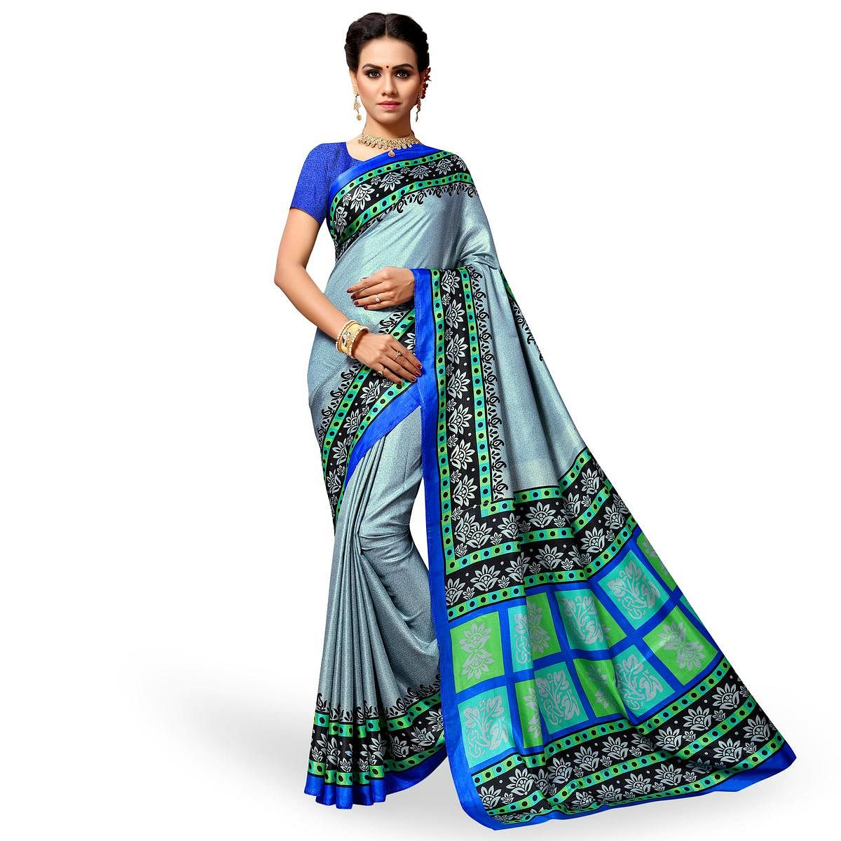 Staring Pastel Blue Colored Casual Wear Printed Cotton Silk Saree