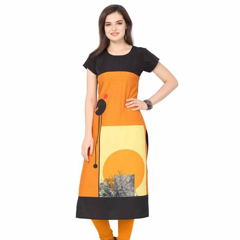 Delightful Orange Colored Casual Printed Crepe Kurti