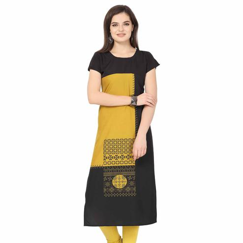 Engrossing Black-Yellow Colored Casual Printed Crepe Kurti