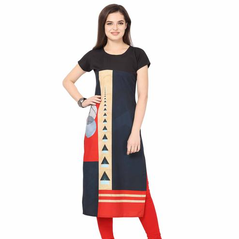 Captivating Black Colored Casual Printed Crepe Kurti