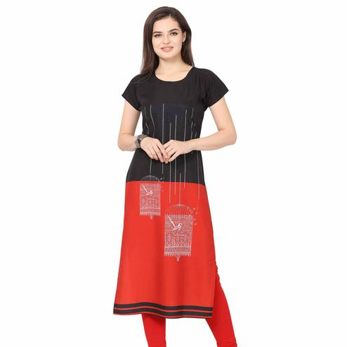 Energetic Black-Red Colored Casual Printed Crepe Kurti