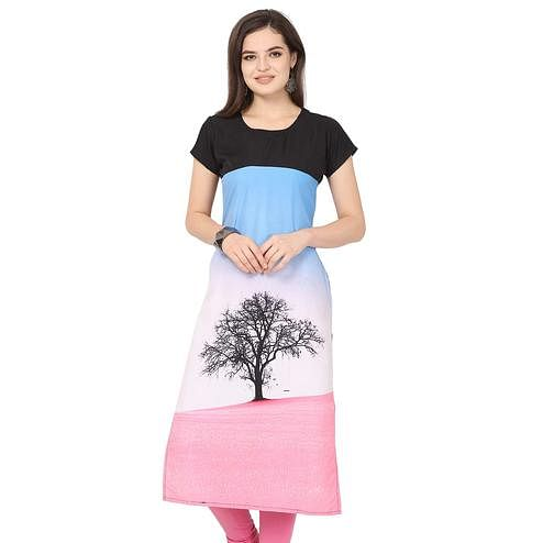 Gleaming Multi Colored Casual Printed Crepe Kurti