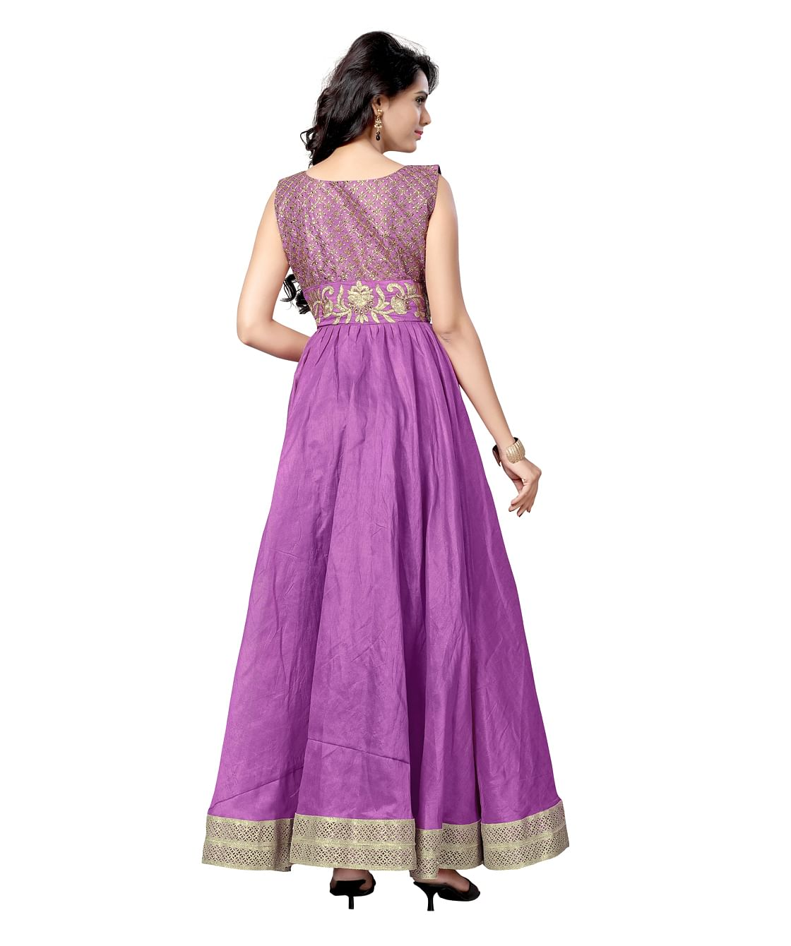 Purple Embrodiered Work Anarkali Suit