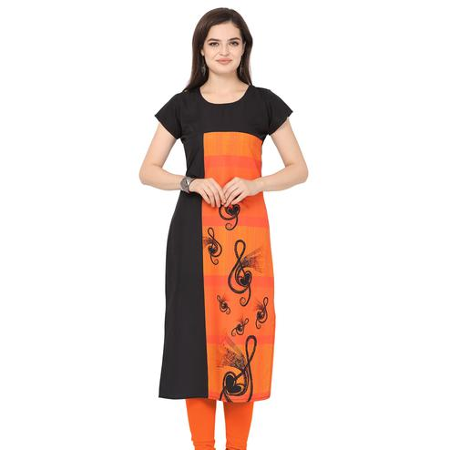 Fantastic Orange-Black Colored Casual Printed Crepe Kurti