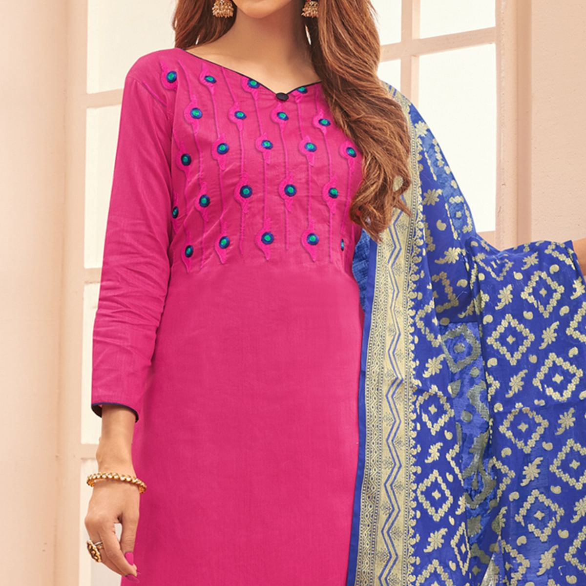 Glorious Rani Pink Colored Festive Wear Embroidered Cotton Dress Material With Banarasi Silk Dupatta