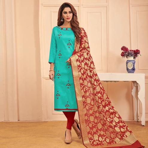 Aqua Blue Colored Festive Wear Embroidered Cotton Dress Material With Banarasi Silk Dupatta