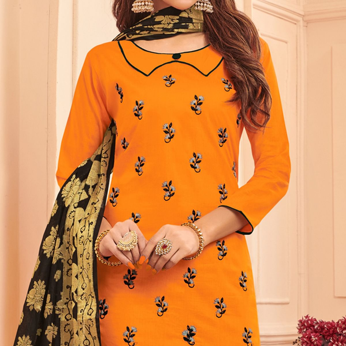 Beautiful Orange Colored Festive Wear Embroidered Cotton Dress Material With Banarasi Silk Dupatta
