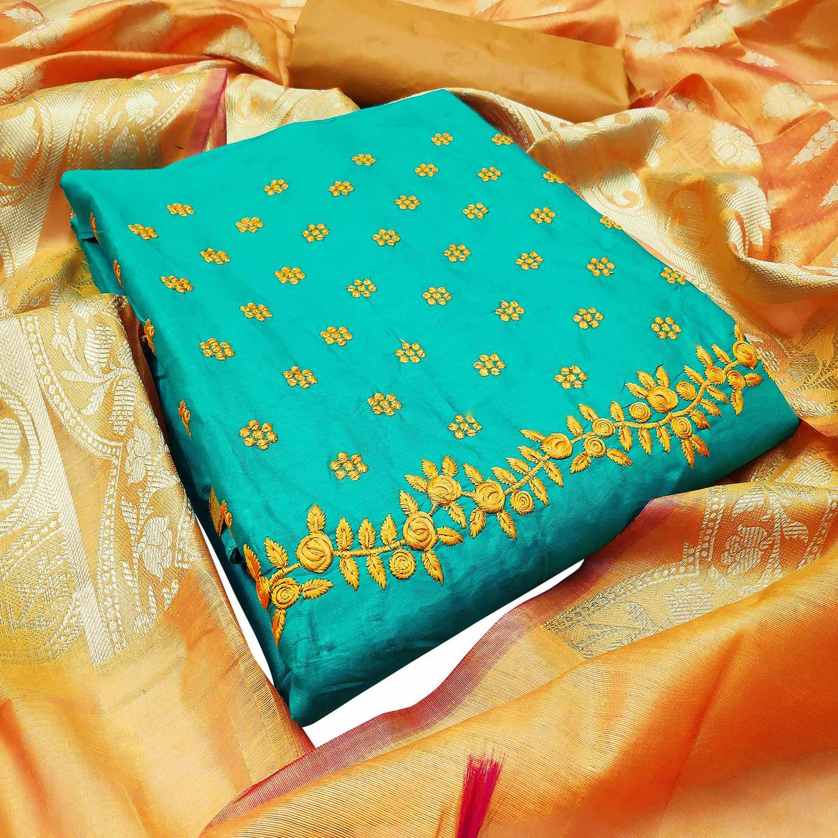 Turquoise Green Color Festive Wear Embroidered Cotton Dress Material With Banarasi Silk Dupatta