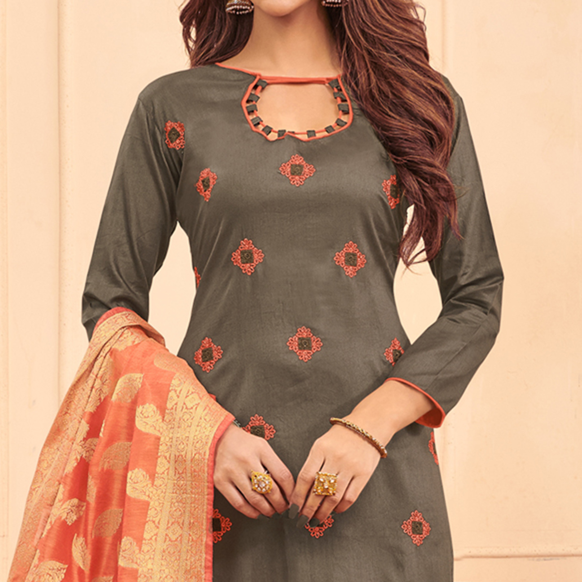 Blooming Grey Colored Festive Wear Embroidered Cotton Dress Material With Banarasi Silk Dupatta