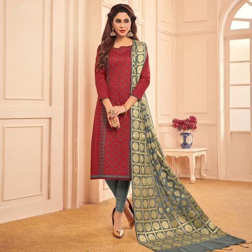 Charming Maroon Colored Festive Wear Embroidered Cotton Dress Material With Banarasi Silk Dupatta