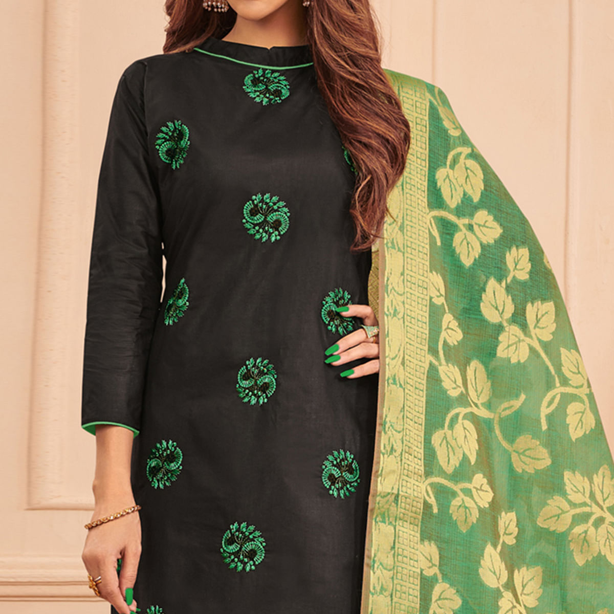 Jazzy Black Colored Festive Wear Embroidered Cotton Dress Material With Banarasi Silk Dupatta