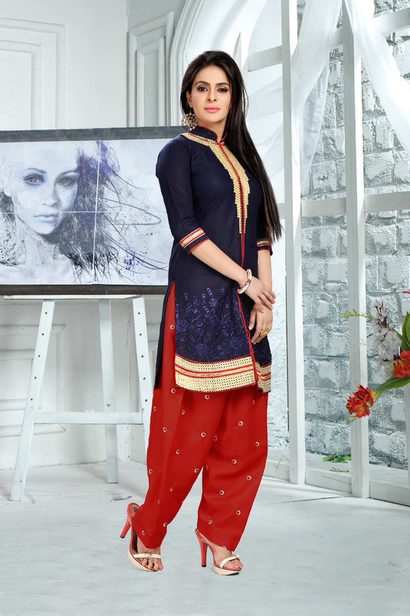 Navy Blue - Red Patiala Suit