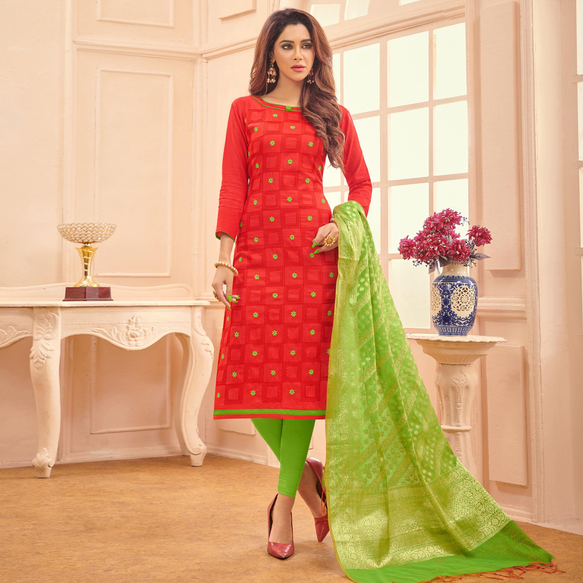 Engrossing Red Colored Festive Wear Embroidered Cotton Dress Material With Banarasi Silk Dupatta