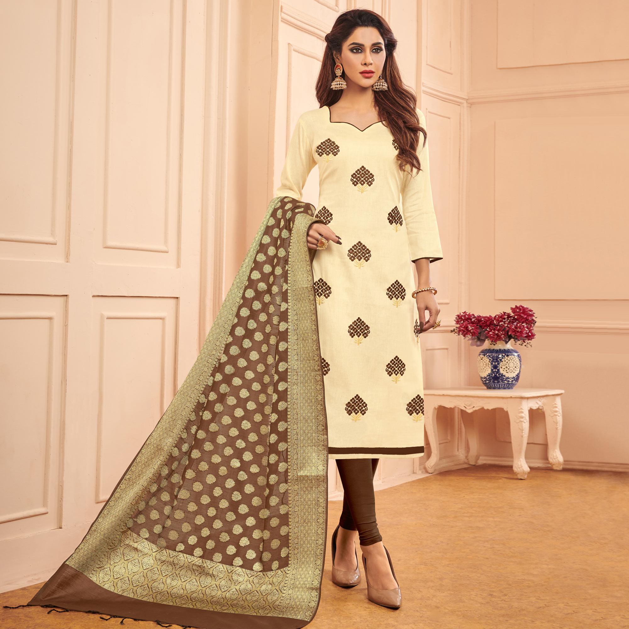 Captivating Cream Colored Festive Wear Embroidered Cotton Dress Material With Banarasi Silk Dupatta