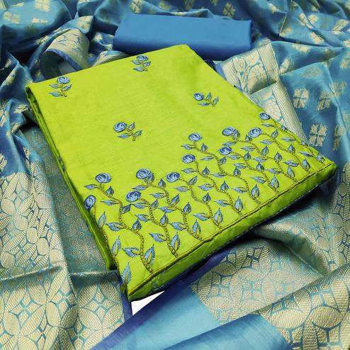 Light Green Colored Festive Wear Embroidered Cotton Dress Material With Banarasi Silk Dupatta