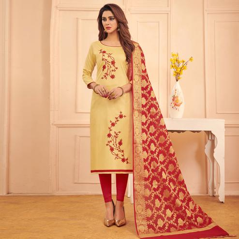 Eye-catching Beige Colored Festive Wear Embroidered Cotton Dress Material With Banarasi Silk Dupatta