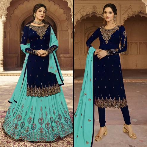 Adorable Navy Blue Colored Partywear Embroidered Georgette Dual Bottom Suit